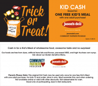 Halloween Kid Cash w/Adult Purchase