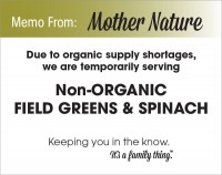Organic Field Greens & Spinach Shortage - PDF